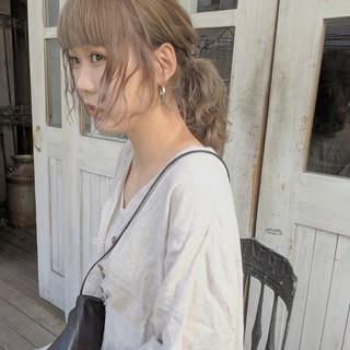 ベージュ ヌーディベージュ ミディアム ナチュラル ヘアスタイルや髪型の写真・画像
