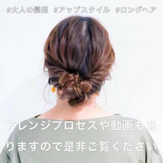 フェミニン ロング 簡単ヘアアレンジ ヘアアレンジ ヘアスタイルや髪型の写真・画像