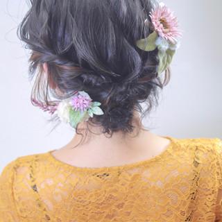 エレガント 結婚式 簡単ヘアアレンジ インナーカラー ヘアスタイルや髪型の写真・画像