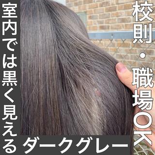 モード ダークグレー ロング ホワイトシルバー ヘアスタイルや髪型の写真・画像