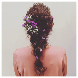 結婚式 ヘアアレンジ ガーリー ロング ヘアスタイルや髪型の写真・画像 ヘアスタイルや髪型の写真・画像