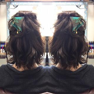 ナチュラル ヘアアレンジ ボブ ミディアム ヘアスタイルや髪型の写真・画像 ヘアスタイルや髪型の写真・画像
