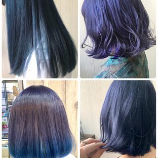 ブルーアッシュ ナチュラル ミディアム ヘアアレンジ ヘアスタイルや髪型の写真・画像