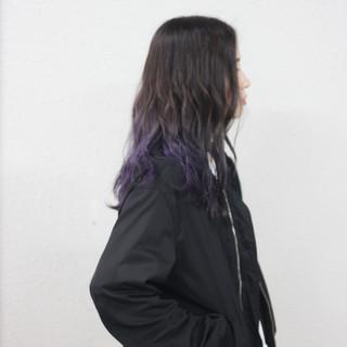 ブルーバイオレット モード シルバー バレイヤージュ ヘアスタイルや髪型の写真・画像