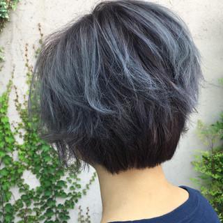 ショート ネイビー モード ブルー ヘアスタイルや髪型の写真・画像