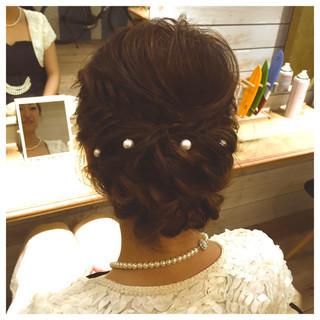 ミディアム 編み込み ヘアアレンジ パーティ ヘアスタイルや髪型の写真・画像
