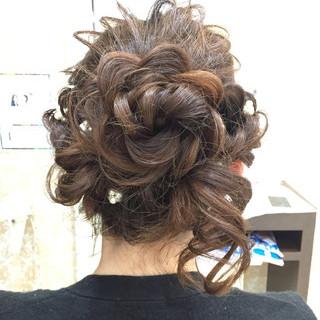 フェミニン 冬 結婚式 ヘアアレンジ ヘアスタイルや髪型の写真・画像