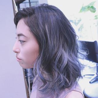 ハイライト パープル ボブ ストリート ヘアスタイルや髪型の写真・画像