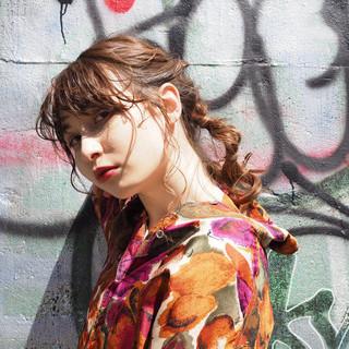 パーマ セミロング 簡単ヘアアレンジ モード ヘアスタイルや髪型の写真・画像 ヘアスタイルや髪型の写真・画像