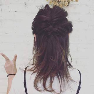 ヘアアレンジ セミロング 簡単ヘアアレンジ ハーフアップ ヘアスタイルや髪型の写真・画像 ヘアスタイルや髪型の写真・画像