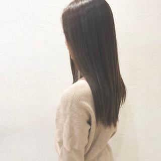 暗髪 コンサバ グレージュ ロング ヘアスタイルや髪型の写真・画像