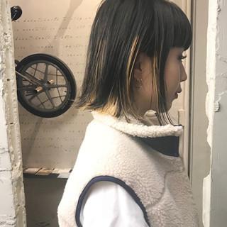 ストリート ボブ モード ハイライト ヘアスタイルや髪型の写真・画像