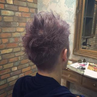 ダブルカラー ラベンダーアッシュ シルバー メンズ ヘアスタイルや髪型の写真・画像