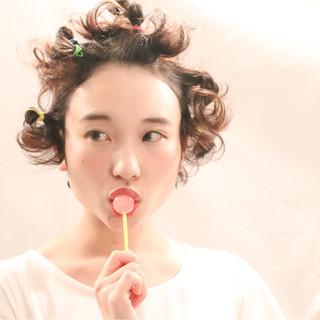 ショート ガーリー 夏 ボブ ヘアスタイルや髪型の写真・画像