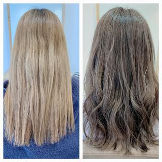 グレーアッシュ セミロング ナチュラル シルバーアッシュ ヘアスタイルや髪型の写真・画像