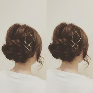 ヘアアクセ ヘアアレンジ ミディアム ヘアピン ヘアスタイルや髪型の写真・画像