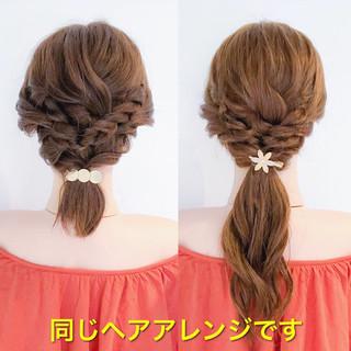 簡単ヘアアレンジ ねじり アウトドア ロング ヘアスタイルや髪型の写真・画像