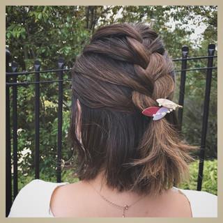 ハーフアップ グラデーションカラー 編み込み 簡単ヘアアレンジ ヘアスタイルや髪型の写真・画像 ヘアスタイルや髪型の写真・画像