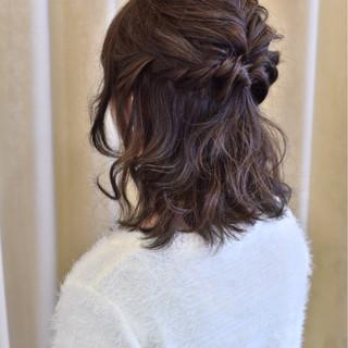 結婚式 ヘアアレンジ 暗髪 大人かわいい ヘアスタイルや髪型の写真・画像