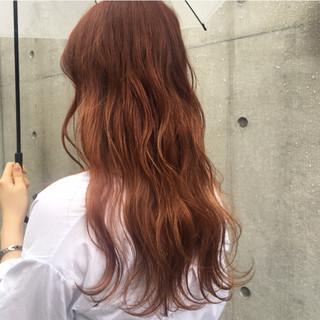 ガーリー オルチャン ロング オレンジ ヘアスタイルや髪型の写真・画像