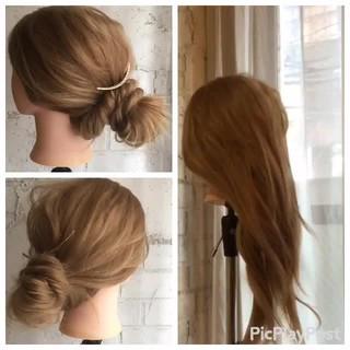 フェミニン 簡単ヘアアレンジ セミロング 結婚式 ヘアスタイルや髪型の写真・画像