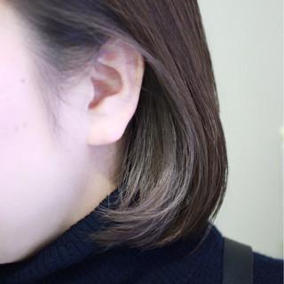 イルミナカラー ボブ ハイライト ナチュラル ヘアスタイルや髪型の写真・画像