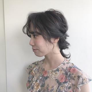 ヘアアレンジ グレージュ 外国人風 ミディアム ヘアスタイルや髪型の写真・画像