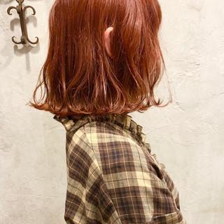 ブリーチ ボブ コーラル ピンク ヘアスタイルや髪型の写真・画像