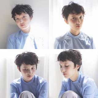 ショート 抜け感 束感 ナチュラル ヘアスタイルや髪型の写真・画像