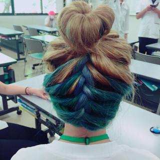 グラデーションカラー 夏 簡単ヘアアレンジ ショート ヘアスタイルや髪型の写真・画像 ヘアスタイルや髪型の写真・画像