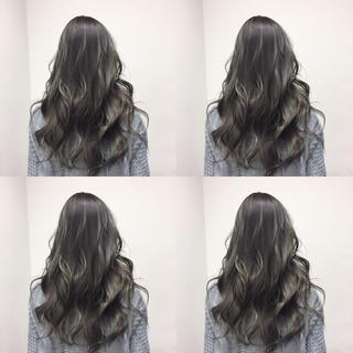 暗髪 アッシュ ガーリー ネイビー ヘアスタイルや髪型の写真・画像