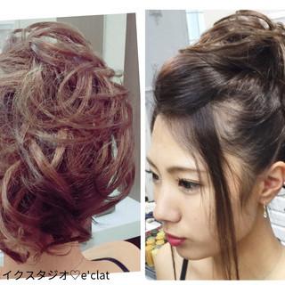 アップスタイル ヘアアレンジ セミロング ポンパドール ヘアスタイルや髪型の写真・画像