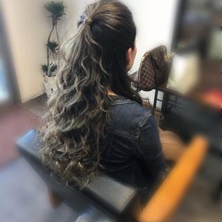 ロング 前髪アレンジ ヘアアレンジ ハーフアップ ヘアスタイルや髪型の写真・画像