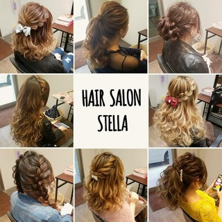 ヘアアレンジ 編み込み フェミニン セミロング ヘアスタイルや髪型の写真・画像