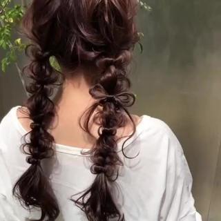 ツインテール 編みおろし ガーリー ロング ヘアスタイルや髪型の写真・画像