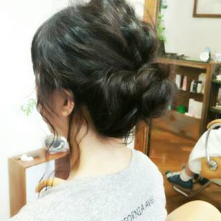黒髪 ヘアアレンジ ロング ガーリー ヘアスタイルや髪型の写真・画像