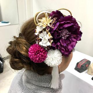 結婚式 ヘアカラー セミロング 成人式 ヘアスタイルや髪型の写真・画像