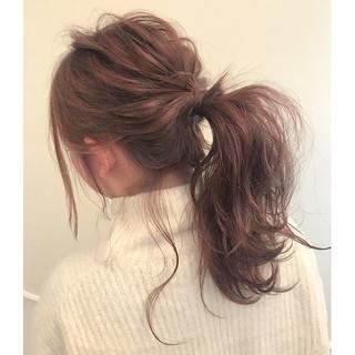 ヘアアレンジ フェミニン 簡単ヘアアレンジ ミディアム ヘアスタイルや髪型の写真・画像