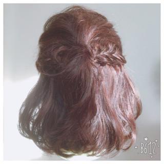 ハーフアップ ハイライト 編み込み ミディアム ヘアスタイルや髪型の写真・画像