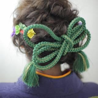 編み込み 着物 ゆるふわ ヘアアレンジ ヘアスタイルや髪型の写真・画像