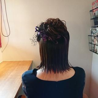 ボブ ヘアアレンジ ハーフアップ フェミニン ヘアスタイルや髪型の写真・画像
