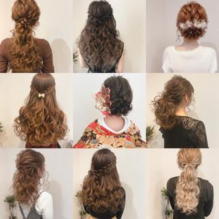 セミロング ハーフアップ ヘアセット フェミニン ヘアスタイルや髪型の写真・画像