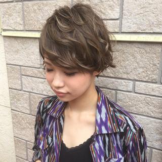 ハイライト 外国人風カラー 外国人風 ショート ヘアスタイルや髪型の写真・画像