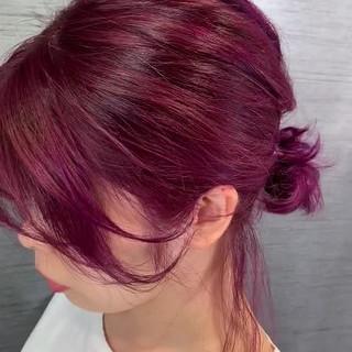 ナチュラル ロング ピンクバイオレット ベリーピンク ヘアスタイルや髪型の写真・画像