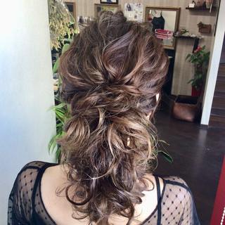 ロング ナチュラル 簡単ヘアアレンジ 結婚式 ヘアスタイルや髪型の写真・画像