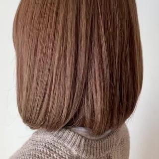 フェミニン 簡単スタイリング ボブ 透明感カラー ヘアスタイルや髪型の写真・画像