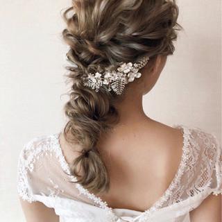 ヘアアレンジ 結婚式 ウェーブ 大人かわいい ヘアスタイルや髪型の写真・画像