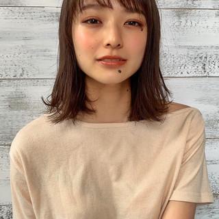 パーマ 透明感カラー 髪質改善トリートメント ミディアム ヘアスタイルや髪型の写真・画像