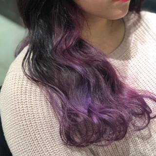ストリート グラデーションカラー ピンク バイオレット ヘアスタイルや髪型の写真・画像 ヘアスタイルや髪型の写真・画像