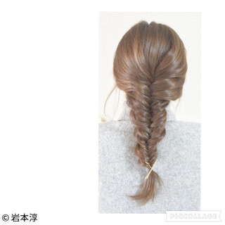 フィッシュボーン ショート 簡単ヘアアレンジ ヘアアクセ ヘアスタイルや髪型の写真・画像 ヘアスタイルや髪型の写真・画像
